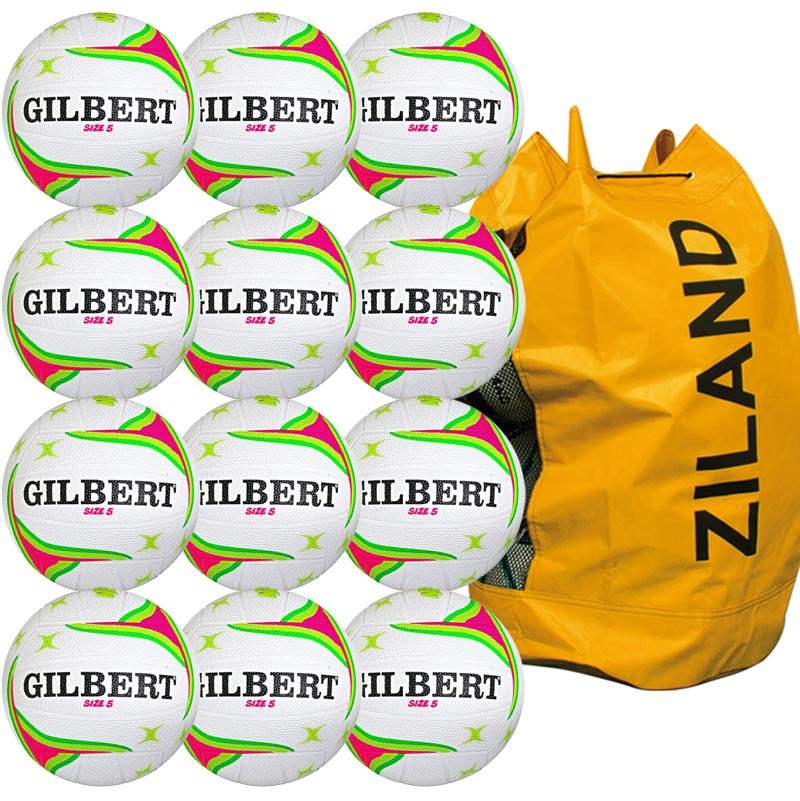 Gilbert APT Training Netball 12 Pack White