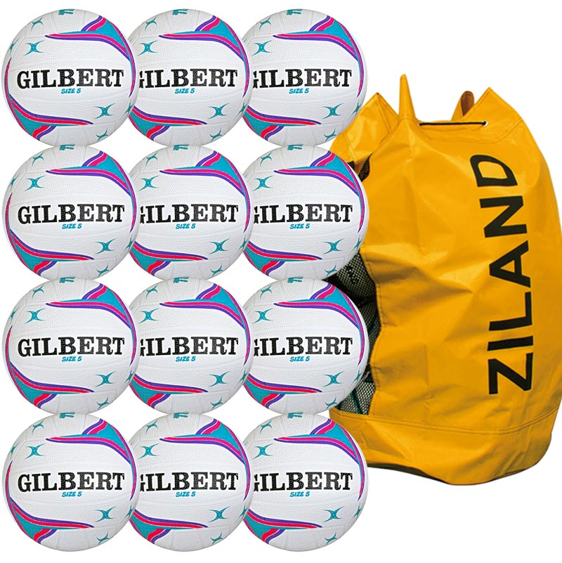 Gilbert APT Training Netball 12 Pack White and Purple