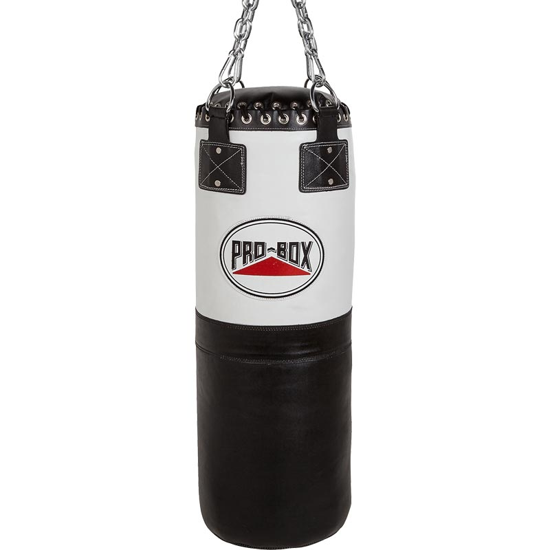 Pro Box Black White 3ft Heavy Leather Punch Bag