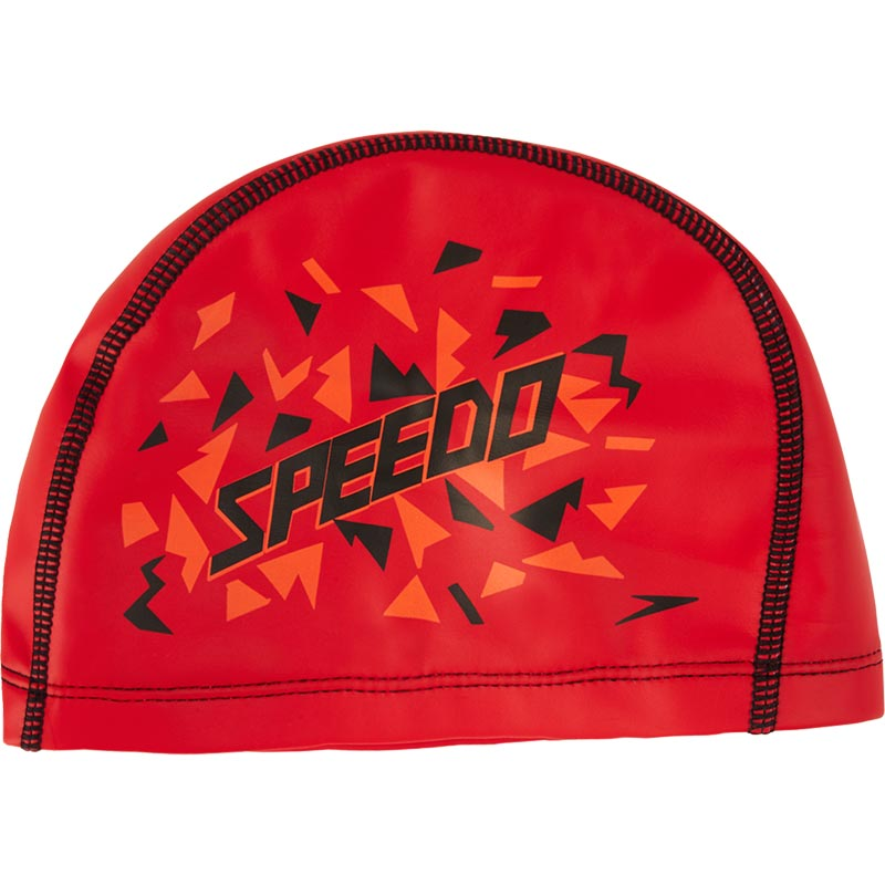 Speedo Junior Printed Pace Swimming Cap Lava Red/Orange/Black