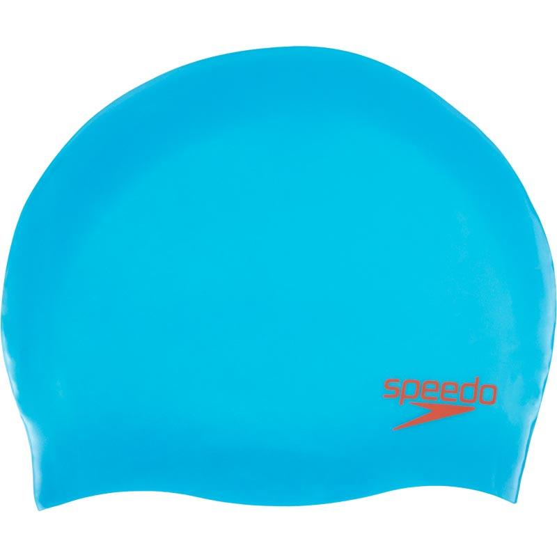 Speedo Junior Silicone Swimming Cap Japan Blue/Lava Red