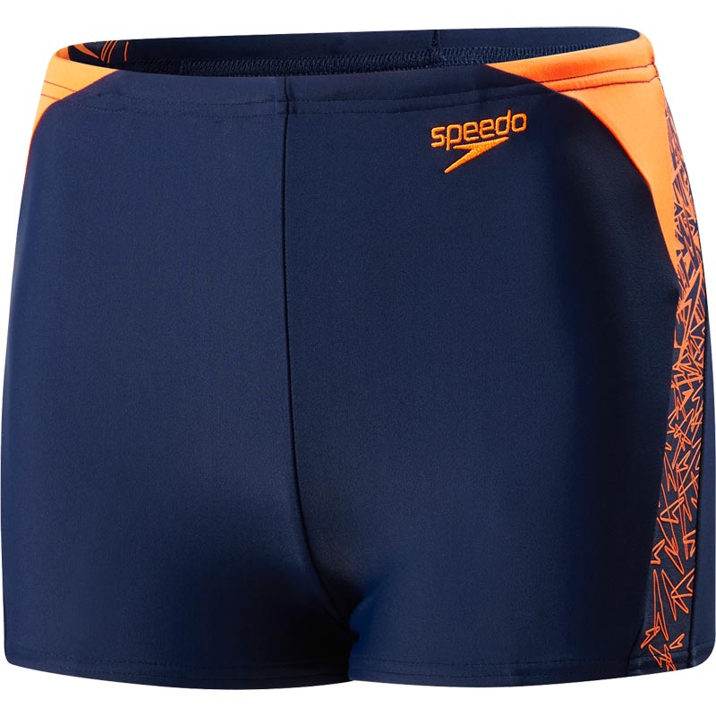 Speedo Boys Boom Splice Aquashort Navy/Fluo Orange
