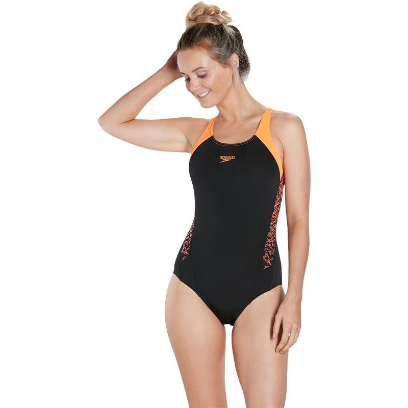 Speedo Boom Splice Muscleback Swimsuit Black/Fluo Orange