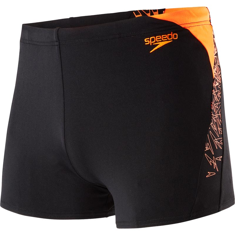 Speedo Mens Boom Splice Aquashort Black/Fluo Orange