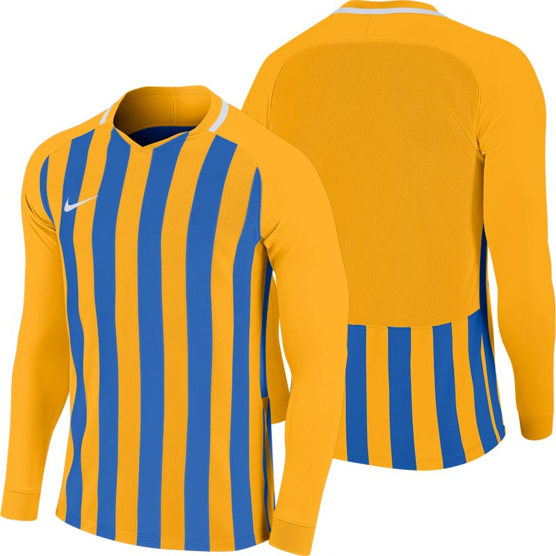 d06977cd2 Nike Striped Division III Long Sleeve Junior Football Shirt University  Gold/Blue. Tap to expand
