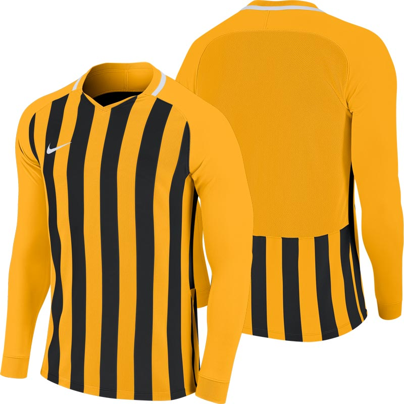 Nike Striped Division III Long Sleeve Senior  Football Shirt University Gold/Black