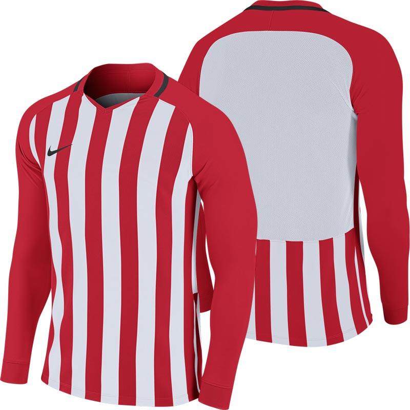 Nike Striped Division III Long Sleeve Senior Football Shirt University Red/White