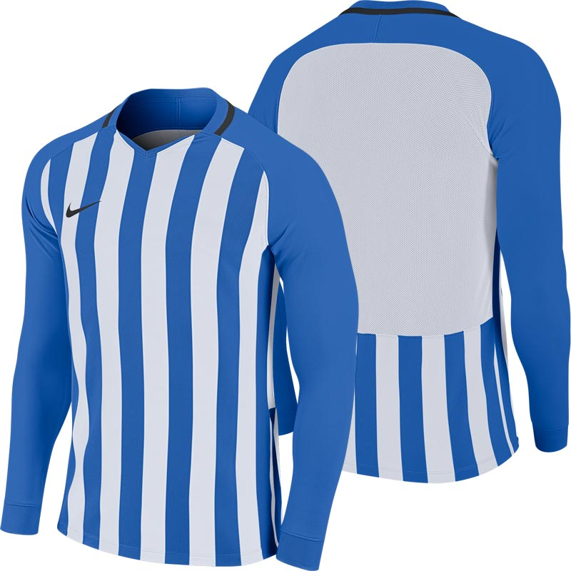 Nike Striped Division III Long Sleeve Junior  Football Shirt Royal Blue/White