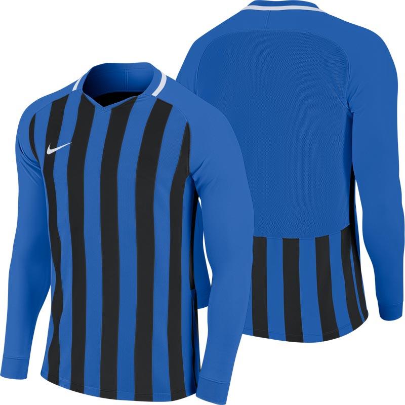 Nike Striped Division III Long Sleeve Junior Football Shirt Royal Blue/Black