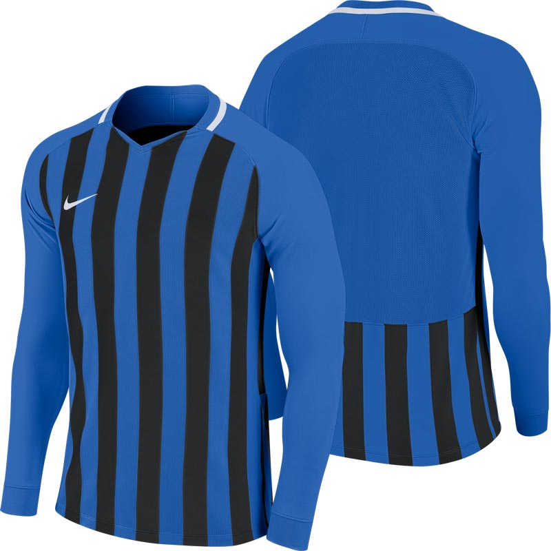 Nike Striped Division III Long Sleeve Senior  Football Shirt Royal Blue/Black