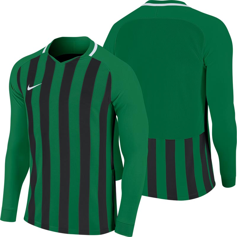 Nike Striped Division III Long Sleeve Senior Football Shirt Pine Green/Black