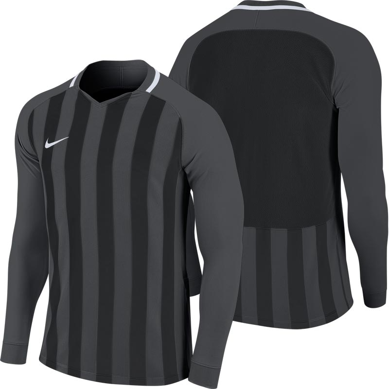 Nike Striped Division III Long Sleeve Junior Football Shirt Anthracite/Black