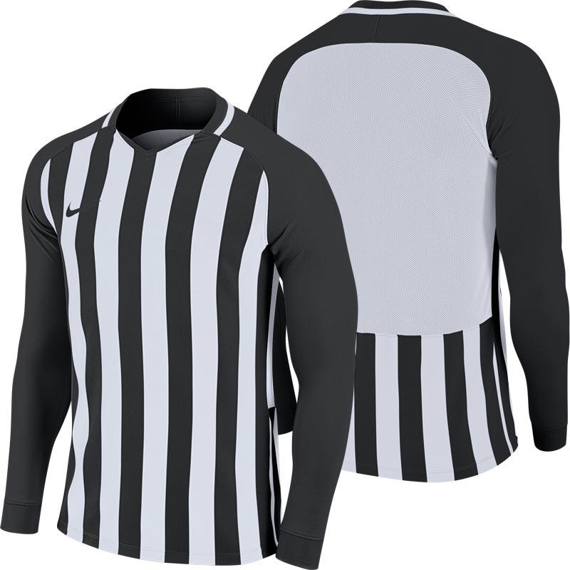 Nike Striped Division III Long Sleeve Junior Football Shirt Black/White