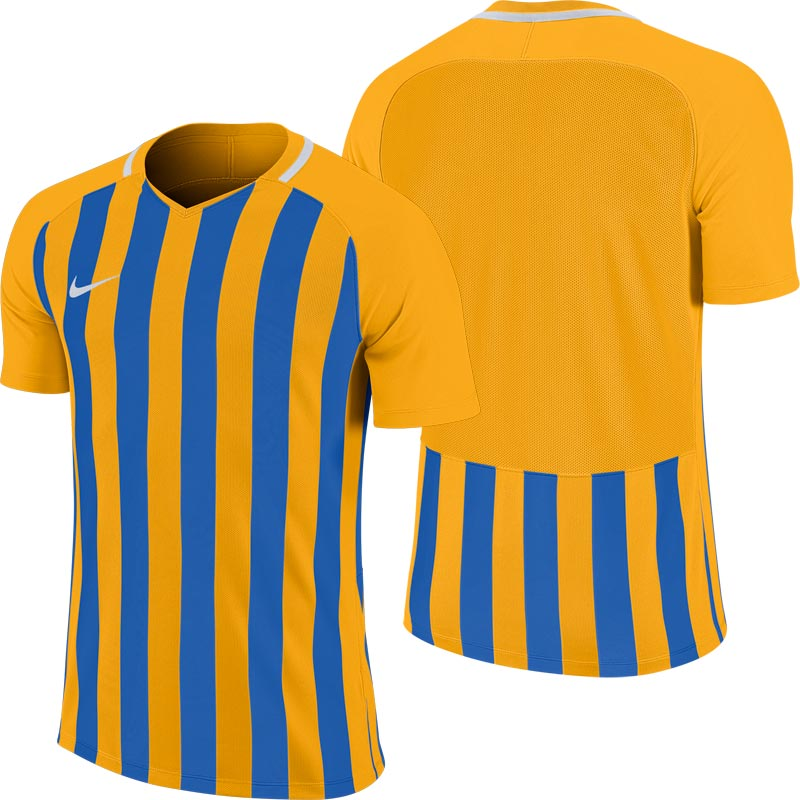 Nike Striped Division III Short Sleeve Junior Football Shirt University Gold/Royal Blue