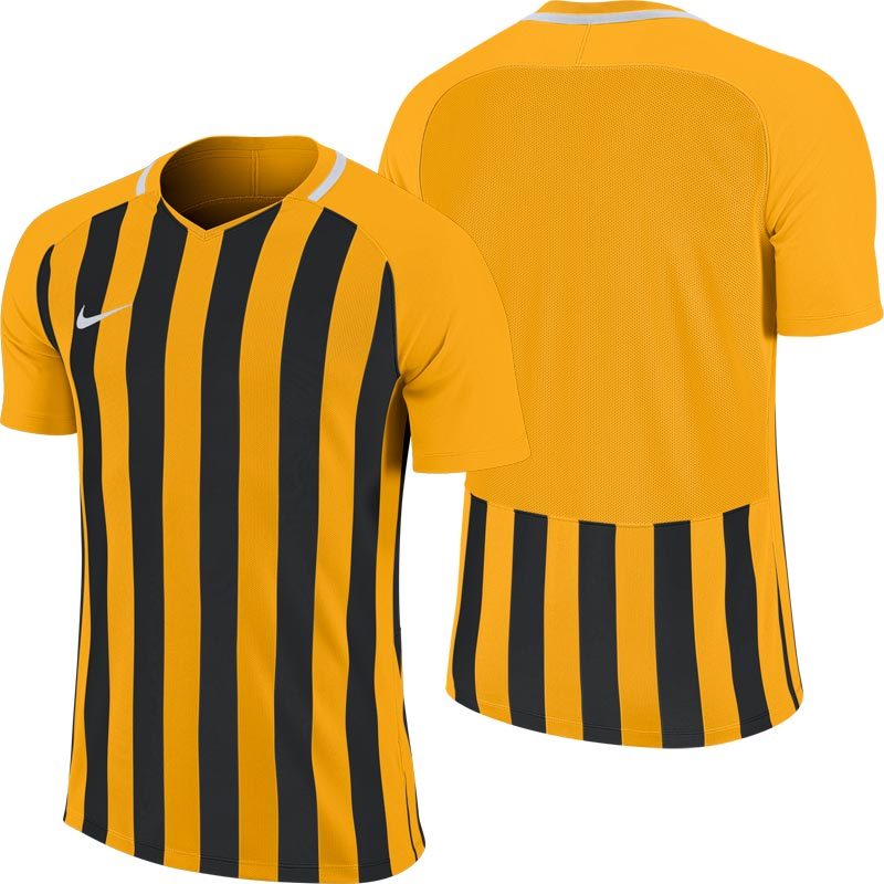 Nike Striped Division III Short Sleeve Junior Football Shirt University Gold/Black