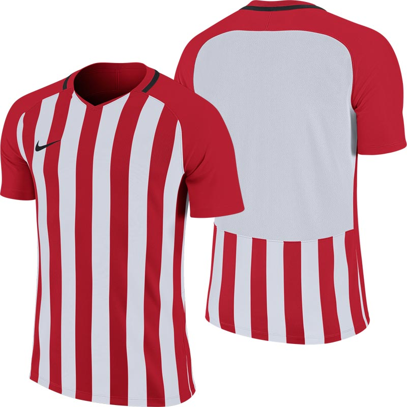 Nike Striped Division III Short Sleeve Junior Football Shirt University Red/White