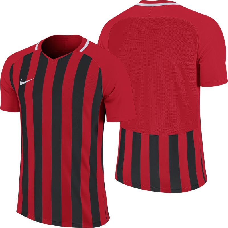 Nike Striped Division III Short Sleeve Junior Football Shirt University Red/Black