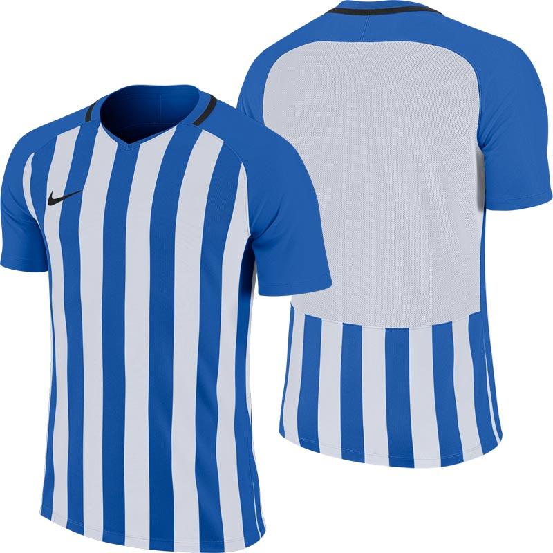 Nike Striped Division III Short Sleeve Junior Football Shirt Royal Blue/White