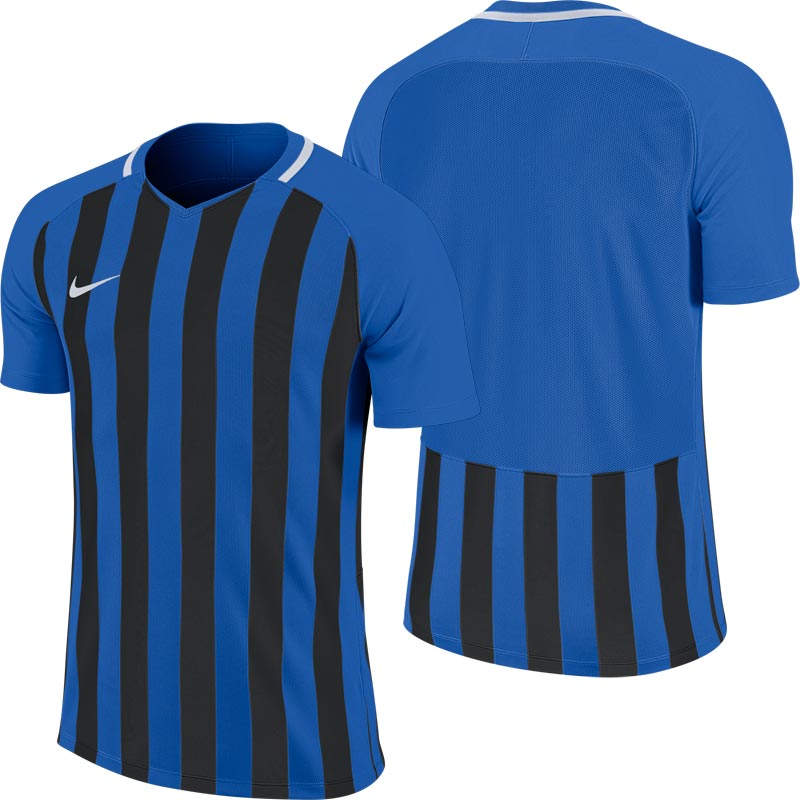 Nike Striped Division III Short Sleeve Junior Football Shirt Royal Blue/Black