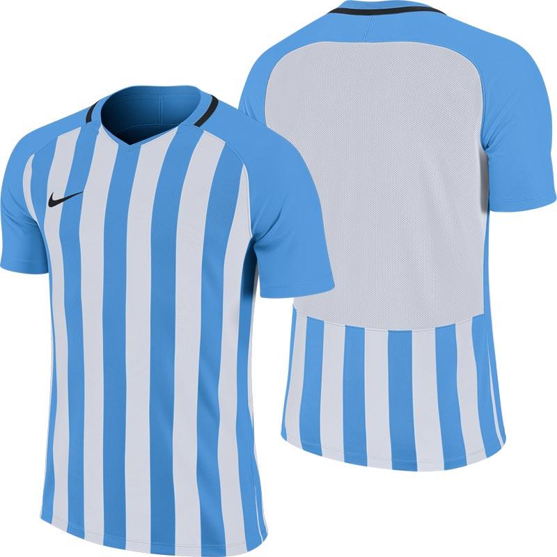 Nike Striped Division III Short Sleeve Junior Football Shirt University Blue/White