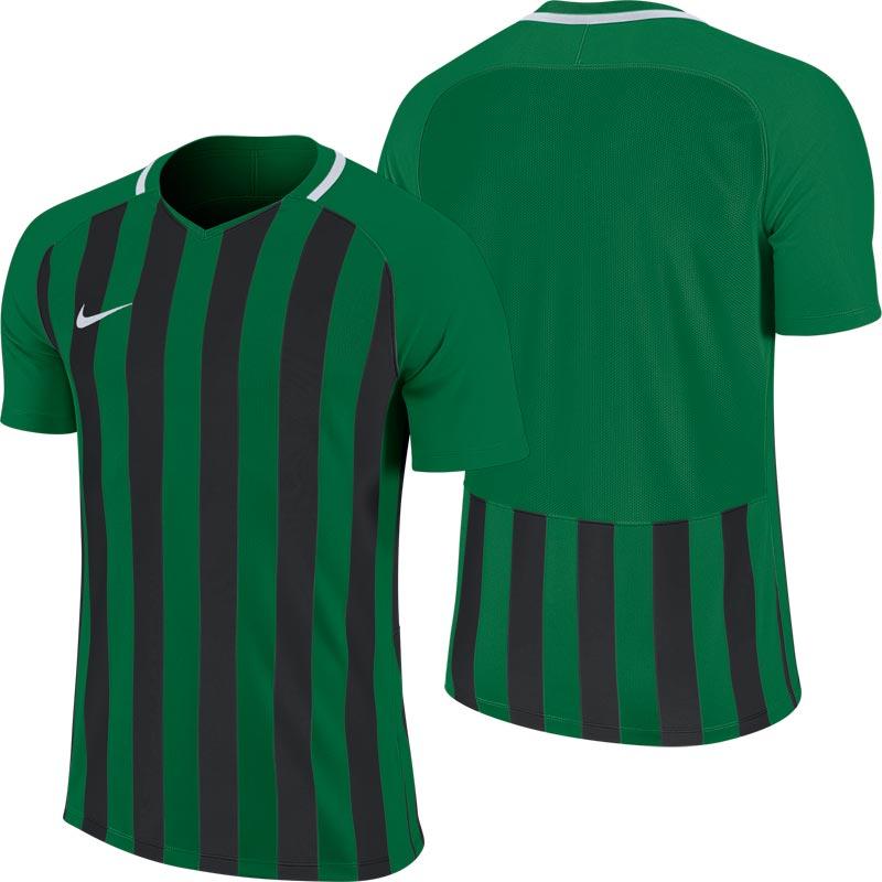 Nike Striped Division III Short Sleeve Junior Football Shirt Pine Green/Black