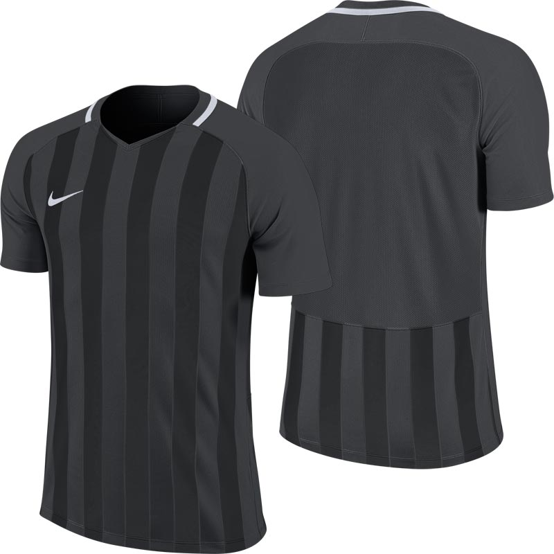 Nike Striped Division III Short Sleeve Senior Football Shirt Anthracite/Black