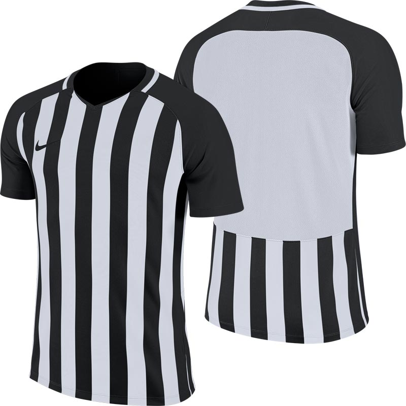 Nike Striped Division III Short Sleeve Junior Football Shirt Black/White