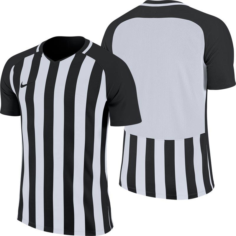 Nike Striped Division III Short Sleeve Senior Football Shirt Black/White