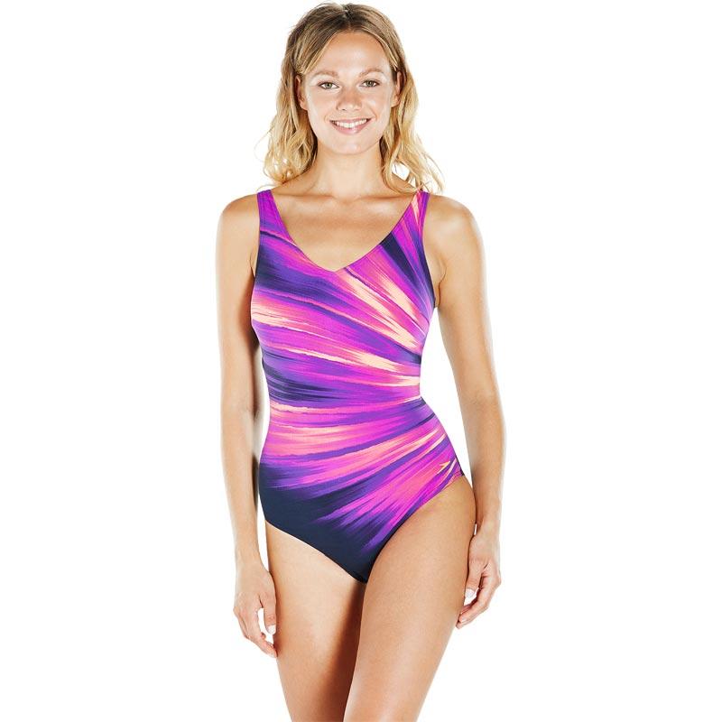 Speedo Sculpture Vivapool Swimsuit Navy/Diva/Fluo Orange