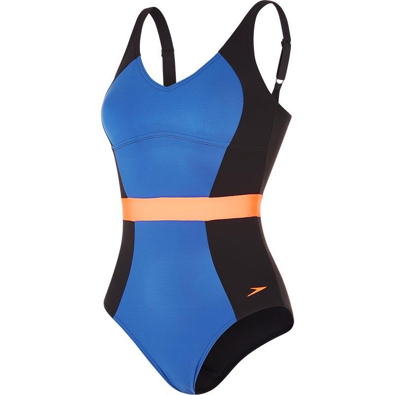 Speedo Sculpture Crystalgleam Swimsuit Black/Ultramarine/Fluo Orange
