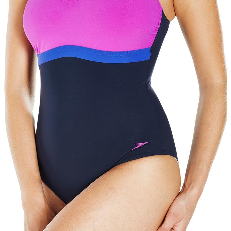 Speedo Sculpture Aquajewel Swimsuit Navy/Diva/Aquamarine