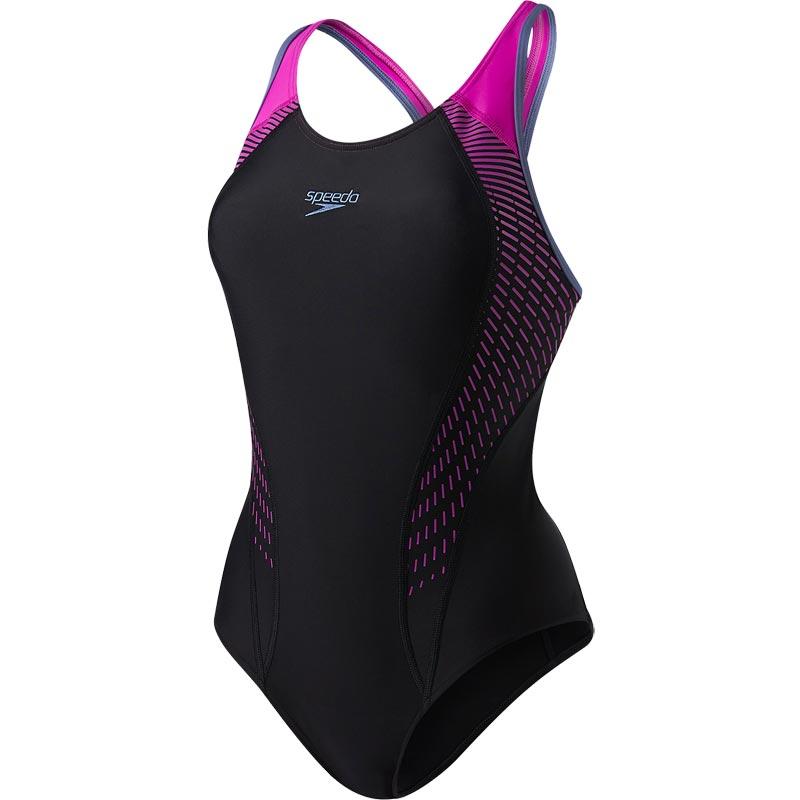 e16e46873f054 Speedo Fit Laneback Swimsuit Black/Diva/Vita Grey
