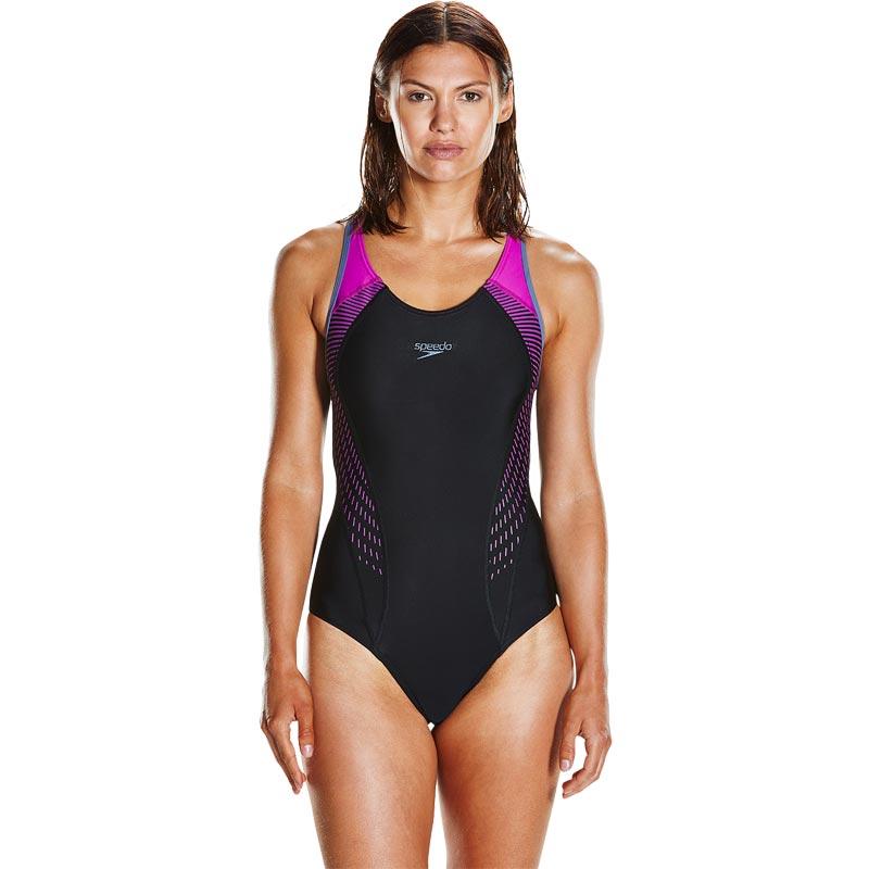 Speedo Fit Laneback Swimsuit Black/Diva/Vita Grey