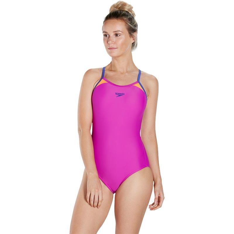 Speedo Splice Thinstrap Racerback Swimsuit Diva/Ultramarine/Orange