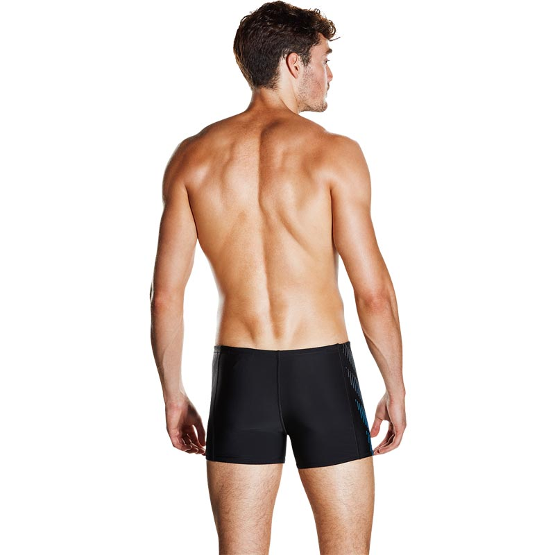 Speedo Placement Panel Aquashort Black/USA Charcoal/Neon Blue