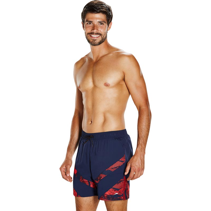 Speedo Sport Panel 16 Inch Short Navy/Lava Red