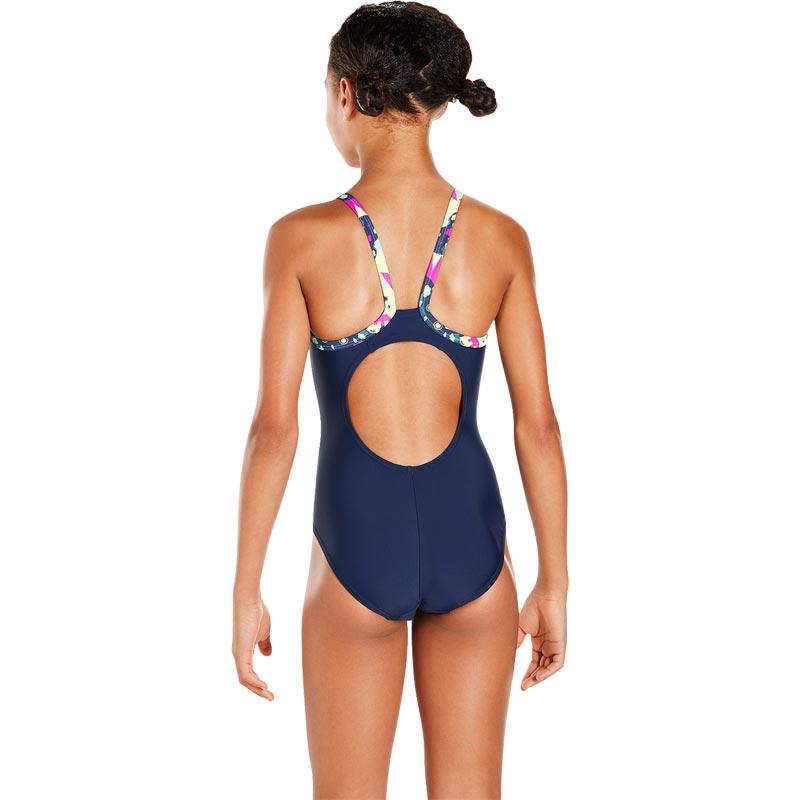 Speedo Girls Thinstrap Powderpuff Muscleback Swimsuit Navy/Spearmint