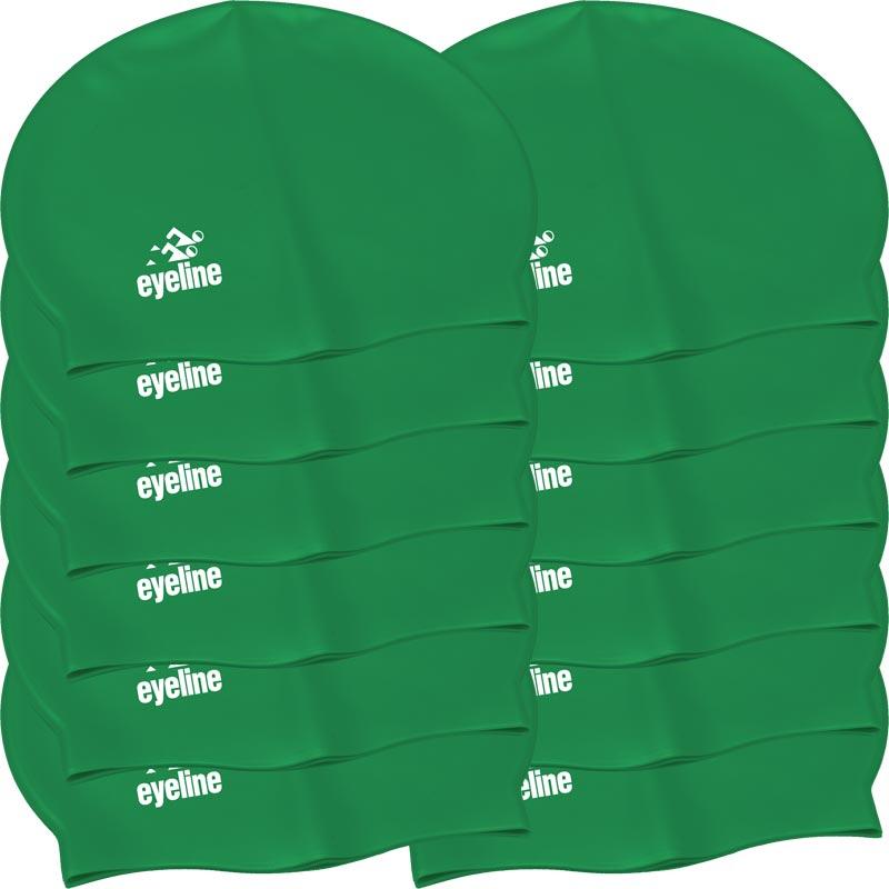 Eyeline Senior Latex Swimming Cap 12 Pack Green