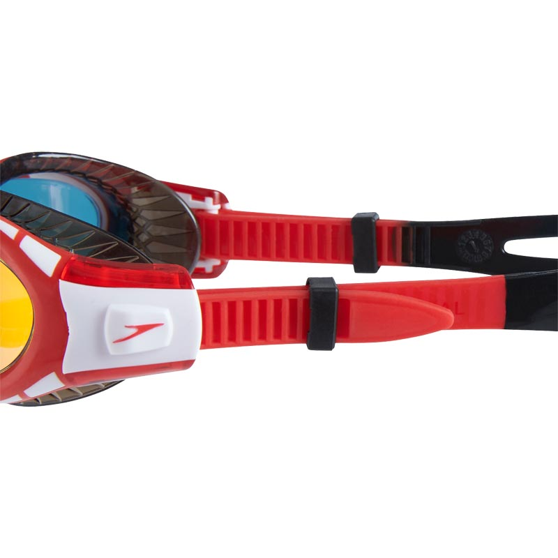 Speedo Junior Futura Biofuse Flexiseal Mirror Swimming Goggles Black/Lava Red/Gold