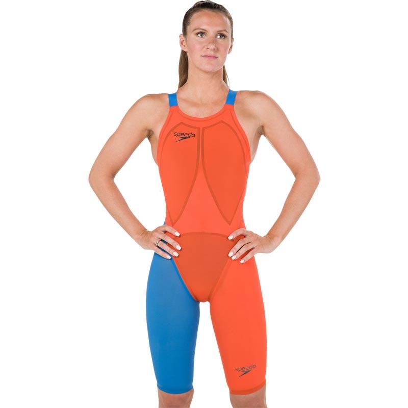 Speedo LZR Elite 2 Openback Kneeskin Hot Orange/Bondi Blue