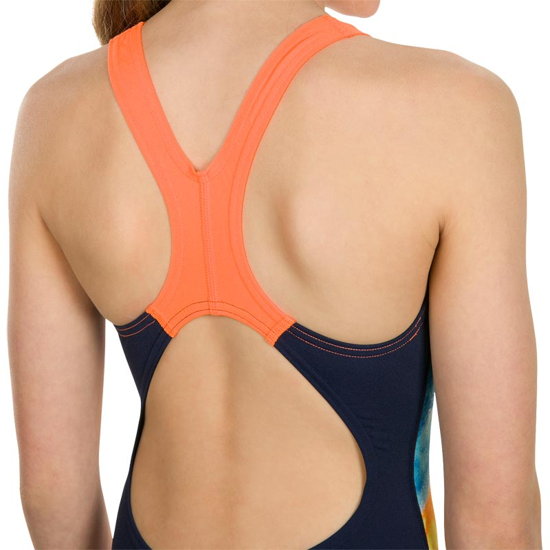 Speedo Sun Pebble Splashback Swimsuit Navy/Orange