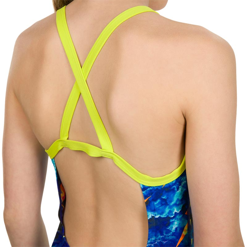 Speedo Strike Flash Crossback Swimsuit Black/Lime Punch