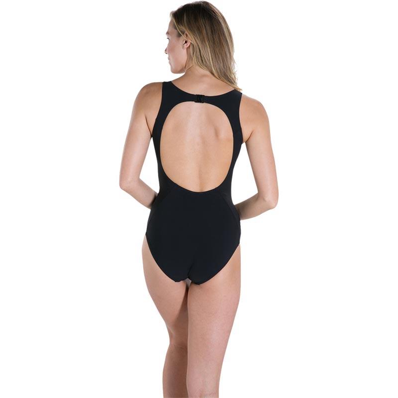 Speedo Sculpture Pureglow Swimsuit Black/Oxid Grey/Fluo Orange