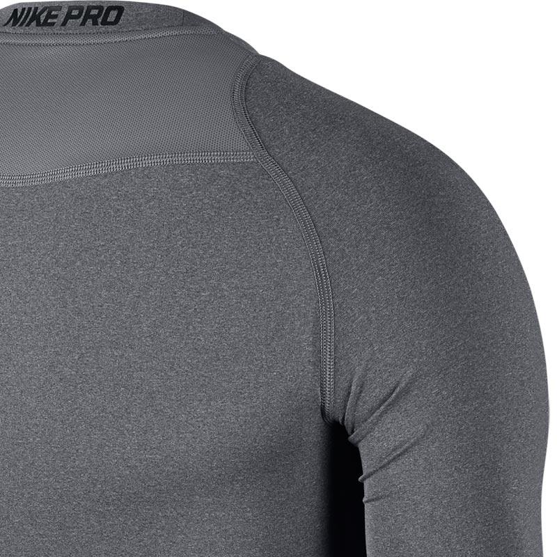 Nike Pro Compression Crew Senior Long Sleeve Top Carbon Heather
