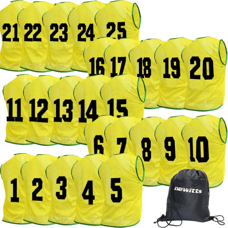 Numbered Training Bibs 1-25 Pack Yellow