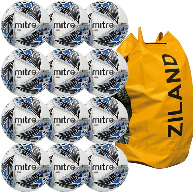 Mitre Delta Pro Match Football White 12 Pack