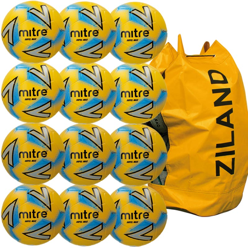Mitre Impel Max Training Football Yellow 12 Pack