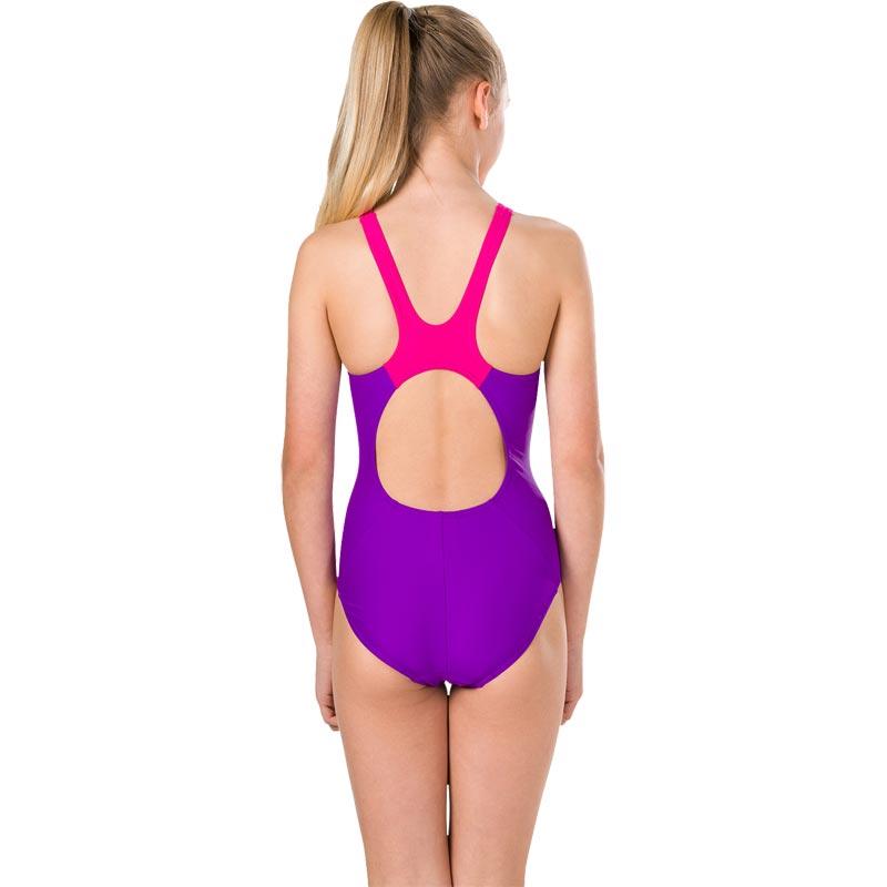 Speedo Girls Boom Splice Muscleback Swimsuit Royal Purple/Electric Pink