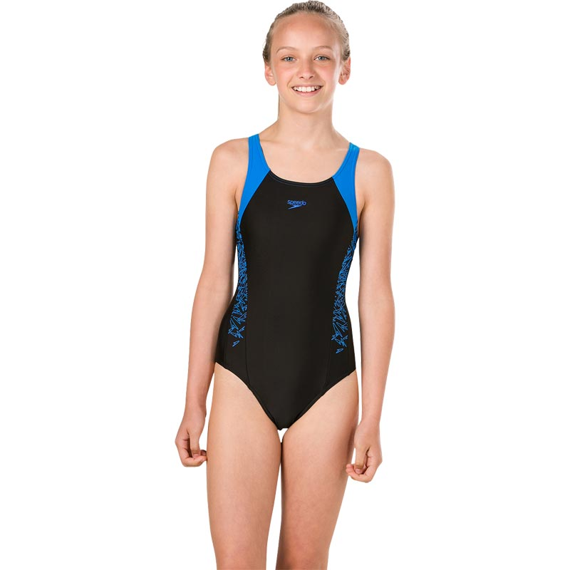 Speedo Girls Boom Splice Muscleback Swimsuit Black/Brilliant Blue