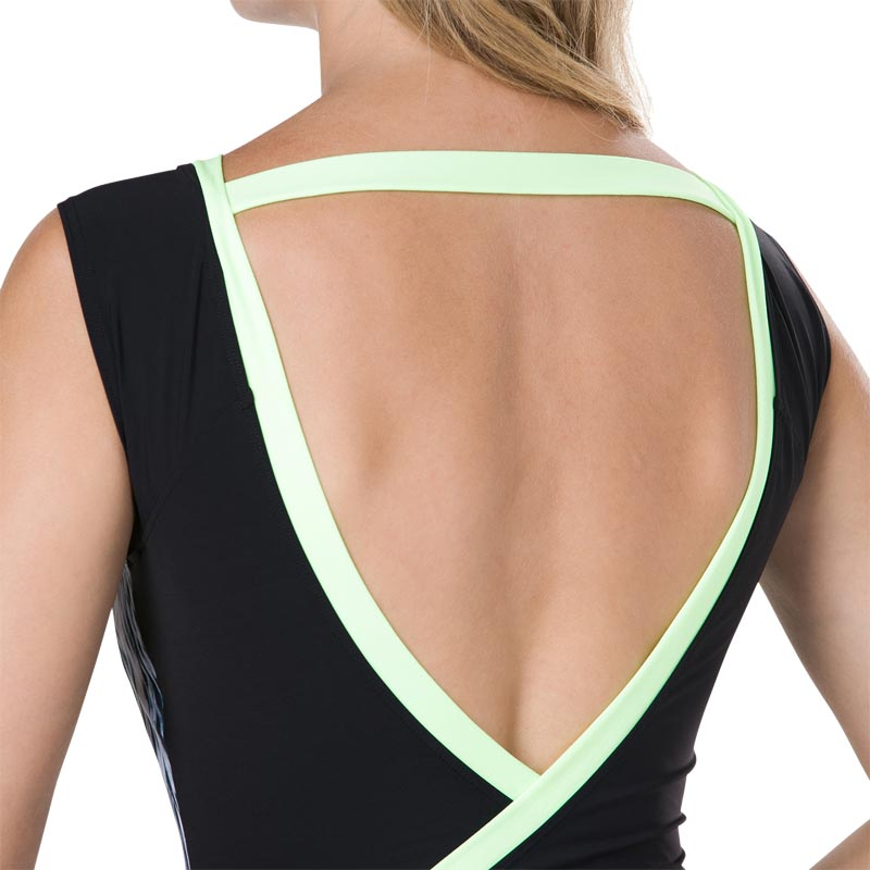 Speedo Crystalsheen Printed Swimsuit Black/Oxid Grey/Bright Zest